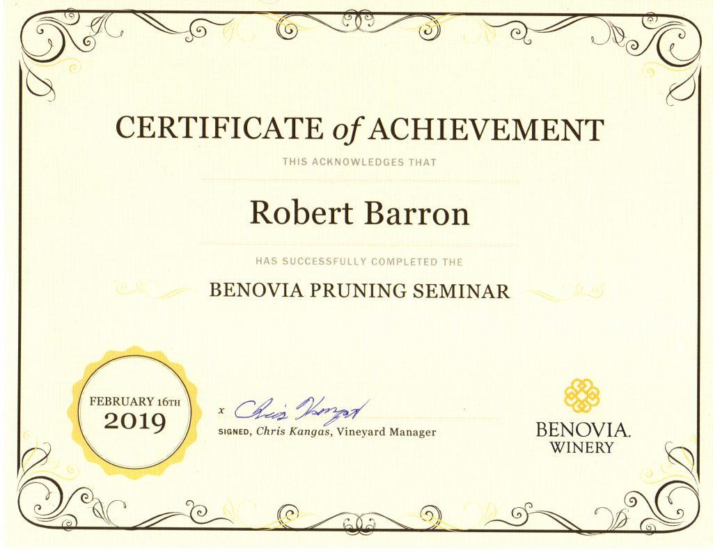 Benovia Pruning Seminar Certificate